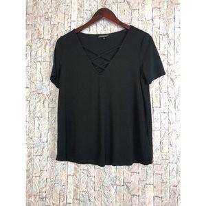 TopShop Black Short Sleeve Cross Top